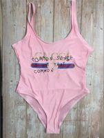 havalı bikini toptan satış-Serin Baskı Mayo Yastıklı Push Up kadın Tek parça Bikini Açık Plaj Banyo Tasarımcısı Bandaj Mayo Ücretsiz Kargo