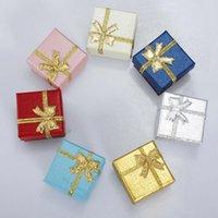 colar de anel sólido venda por atacado-24pcs / quadrado do bloco do anel colar brinco pulseira data do casamento jóias caixa de presente delicado cor sólida Jewelry Box Atacado
