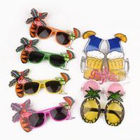 ananas sonnenbrille großhandel-Beach Party Neuheit Obst Ananas Sonnenbrille Flamingo Party Dekoration Hawaiian Lustige Brillen Eyewear Hen Party Supplies