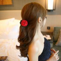 griffe d'arc achat en gros de-1 pc Femmes Coréennes Élégant En Mousseline De Soie Rose Fleur Arc Jaw Clip Barrette Barrettes Barrettes Épingles À Cheveux Épingles À Cheveux Chapeaux Cheveux Griffe Cadeau