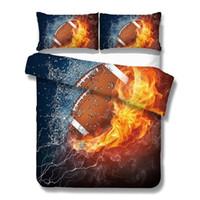 kırmızı keten yatak takımı toptan satış-Amerikan Futbolu Yatak Seti Yangın ve Su Çarşafları Keten 3D Spor Yorgan Kapağı Kırmızı Mavi Yatak Örtüsü set