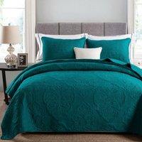 ingrosso copriletti verdi queen size-Set di biancheria da letto in cotone morbido bianco beige verde tinta unita 3 pezzi copriletto ricamato trapuntato copriletto lenzuola copriletto