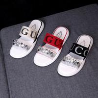 elmas flip flop ayakkabı toptan satış-Kız Sandalet Mektup Elmas Ile Baskılı Yaz Kadın Terlik Düz Topuk Çevirme Terlik Ayakkabı Açık Slaytlar Plaj Sandalet GGA1996