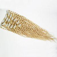 indische remy afro kinky erweiterungen großhandel-Mongolian Afro Verworrene Lockige Webart Remy Haarspange In Echthaar Extensions 100g Clip Ins Reines Indisches Haar Vollen Kopf Set Clip Auf 10