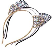 Wholesale girl cat ears headband for sale - Group buy Kids Girls Cute Metal Rhinestone Cat Ear Headband Hair Accessories Headwear