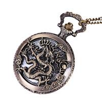 uhr halsketten großhandel-Vintage Retro Bronze Dragon Quarz Taschenuhr Anhänger Kette Halskette Uhr Anime Taschenuhr Uhr Anhänger