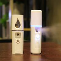 vapor de niebla de la cara al por mayor-Portátil Nano Mist Sprayer Facial Body Steamer Hidratante Cuidado de la piel Mini USB Face Spray Beauty Instruments Con Espejo