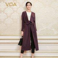 mulher trincheira mulher roxa venda por atacado-VOA 2018 Dark Purple Primavera Outono Longo Trench Breve Sólidos Plus Size casaco pesado Silk Exteriores Mulheres Casual Belt Overcoat