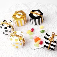 Wholesale chocolate chemicals online - Hexagon Mini Candy Box Round Dot Gold Striped Paper Chocolate Boxes For Wedding Decoration Supplies Hot Sale hy BB