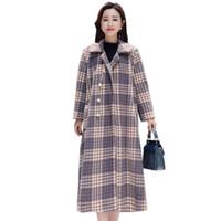 wollmantel lila großhandel-YICIYA Lila Vintage Plaid Kaschmir Wollmantel Frauen Oberbekleidung plus Größe große übergroße lange Mäntel Winter 2019 Frühling Kleidung