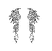 Wholesale romantic dresses for prom resale online - 2019 Elegant Angel Wings Rhinestones Wedding Earrings For Bride Jewelry High Quality Designer For Prom Evening Dress