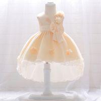 ingrosso nuovi modelli di abbigliamento per le ragazze-Ultimi disegni Baby Frock Girls Party Outfits Piccolo bambino 0-3 anni Compleanno New Model Flower Dress T1866XZ