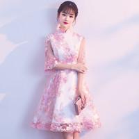 064ddab822466b tradition chinesisches kleid großhandel-Rosa Mini Qipao Lace Stickerei  chinesische Tradition Hochzeit Cheongsam moderne Robe