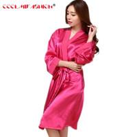 kleid bademäntel traditionellen großhandel-Frauen Silk Robe Nachthemd Traditionelle Feste Kimono Badekleid Nachtwäsche Damen Lange Satin Robe Bademantel Bademantel Mit Gürtel