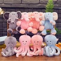 doldurulmuş oyuncak ahtapot toptan satış-25 CM Uyku Fil Dolması Doll Anime Ahtapot Peluş Oyuncak Karikatür Fil Ahtapot Doldurulmuş Hayvanlar Yastık Yavru Oyuncaklar Çocuklar için