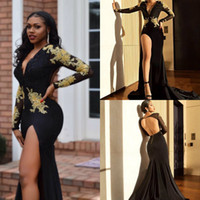 Wholesale prom dresses slits open back for sale - Group buy Sexy Black Mermaid Evening Dresses Arabia Long Sleeves Lace Appliqued Prom Gowns Thigh High Slit Open Back Occasion Party Dress