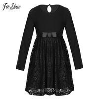 uzun elbise boyutu 12 çocuk toptan satış-Küçük Kızlar Dantel Elbise Uzun Kollu Sonbahar Kış Elbise Boyutu 4 5 6 7 8 9 10 11 12 Yıl Çocuklar Kızlar Prenses Parti Elbise Y190516