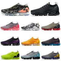 sapatos de corrida para homens tn venda por atacado-nike air vapormax flyknit plus tn 2.0 Tênis de Corrida Cinzento Escuro Dusty Cactus Metallic Gold Homens Mulheres Trainer Designer Sneakers 36-45