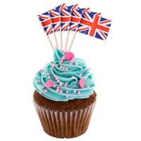 kek kekleri toptan satış-100 Adet Mini Bayrak Meyve Kürdan Kağıt Bayrak Alır Kek Kürdan Kek Meyve Şiş Noel Partisi Dekorasyon
