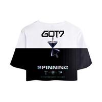 neue koreanische mädchenfotos großhandel-NEUE koreanische Gruppe Got7 NEUE Ablum 3D Crop Top Frauen Jackson JinYoung Foto gedruckt 3D T-Shirt Mädchen Sexy ausgesetzt Nabel Tops