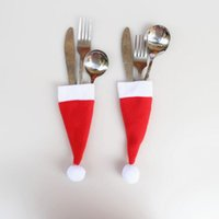 Wholesale fork spoon party for sale - Group buy Hot sale Santa Claus Christmas Mini Hat Indoor Dinner Spoon Forks Decorations Ornaments Xmas Craft Supply Party Favor Navidad LX8129