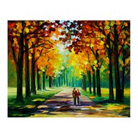 Wholesale oil landscapes painting knives for sale - 24 quot x48 quot Pallet knife Canvas oil painting hand painted forest path living room sofa background wall decoration painting European painting