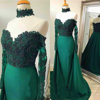 ingrosso cravatta abiti da sposa-Hunter Green Prom Dresses Mermaid Sheer Maniche lunghe 2019 Luxury Major Beading Appliques Overskirts Abito da sera Abiti da spettacolo Pageant