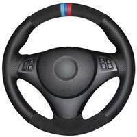 cubiertas de volante de gamuza negra al por mayor-Cubierta de cuero negra del volante del coche del ante negro para BMW E90 320i 325i 330i 335i E87 120i 130i 120d