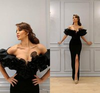 Wholesale royal pageant dresses resale online - Sexy Black Off Shoulder Mermaid Prom Dresses Vintage High Side Split Evening Gown Luxury Formal Party Bridesmaid Pageant Dresses BC2438