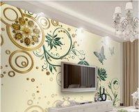 Wholesale decor gems for sale - Group buy 3d wallpaper custom wall stickers European type aureate gem flower TV setting wall home decor wall art d stickers