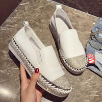 женская обувь оптовых-2018  European patchwork Espadrilles Shoes Woman genuine leather creepers flats ladies loafers white leather loafers
