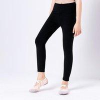 leggings negros de niña delgada al por mayor-Kids Professional Cotton Black High Elástico Ballet Danza Pantalones Niños Niñas Slim Gymnastics Ballet Leggings