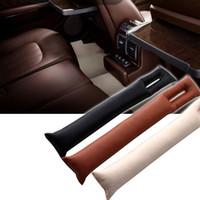 relleno del hueco del asiento al por mayor-Ranura de la PU del cuero del asiento de coche de la grieta inserciones Gap Fillers Práctica Negro Funda espaciador de limpieza automática para el coche Accesorios HHAA165