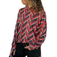 suéter rojo suelto tops al por mayor-Suéteres de las mujeres Casual Boho Red Travel Office Lady Plus Size Spring Loose Geometric Blue moda femenina elegante High Street Tops