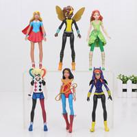Wholesale wonder women doll resale online - 6pcs Set Super Hero Girls Poison Ivy Bee Harley Quinn Wonder Woman Action Figure Doll Toy cm