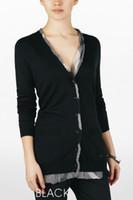 hemdkragen strickjacke groihandel-Womens 2019 Luxus Designer Kleidung leichte Strickjacke Marke Womens Designer Langarm T-Shirts Kragen Chiffon Trim Design