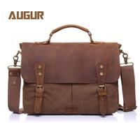 eski tuval deri dizüstü çantası toptan satış-Vintage rahat erkek taşınabilir evrak çantası tuval postacı çantası Messenger çanta çılgın at deri ile 14 Inç Dizüstü Çapraz Vücut