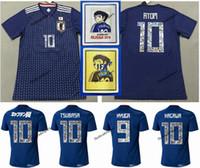 números do japão venda por atacado-Número de desenhos animados 2018 Copa do mundo Japão Soccer Jersey Capitão TSUBASA 10 OLIVER ÁTOMO KAGAWA ENDO 9 HYUGA NAGATOMO KAMAMOTO Nome personalizado