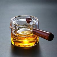 chá verde laranja venda por atacado-Side-to-side espessamento de bule de vidro resistente ao calor bule filtro bule de madeira verde octogonal martelo separador de chá