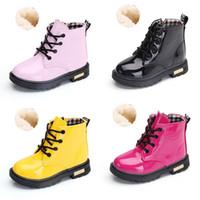Wholesale children shoes velvet resale online - Kids Winter Shoes PU waterproof Baby Boots Fashion Korean version children Boots colors Plus velvet C1783