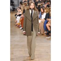 abrigo de moda al por mayor-Escudo manera de las mujeres con estilo clásico del estilo de la moda Mostrar Traje delgado del collar de mitad de longitud doble pecho abrigo de tamaño asiático S-L lana