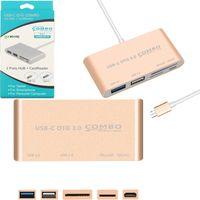 usb otg hub toptan satış-5 in 1 USB-C Hub USB C USB 3.1 Tip C HUB ile Kart Okuyucu USB3.0 Macbook Pro Hava Tipi-c OTG Hub Combo için Çok Bölücü