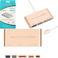 Wholesale type c car charger online - 5 in USB C Hub USB C USB Type C HUB with Card Reader USB3 Multi Spliter for Macbook Pro Air Type c OTG Hub Combo