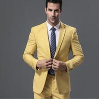 en iyi erkekler resmi takım elbiseleri toptan satış-Sarı Slim Fit Örgün İş Erkek Takımları Düğün Smokin Damat Giyim 2 Parça (Ceket + Pantolon) Damat Takım Elbise İyi Adam Blazer