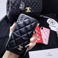 kız telefon kutuları iphone toptan satış-Kız Marka Kart Cep Kadınlar Tasarımcı Telefon Kılıfı Lüks Kapak iphone XSMAX XR X XS 6 7 8 Artı Deri