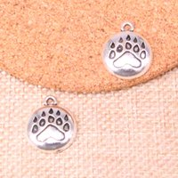 Wholesale bear paw charms online - 80pcs Antique Silver Plated bear paw Charms Pendants fit Making Bracelet Necklace Jewelry Findings Jewelry Diy Craft mm