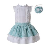 Wholesale children wedding clothes for girls for sale - Group buy Pettigirl Slubbed Cotton Girl Summer Clothing Set Party Wedding White Top Mint Green Children Sets For Girl G DMCS201 A275MX190916