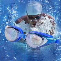 cam yüzeye su geçirmez toptan satış-Toptan-Yüksek Dereceli Galvanik Suya Dayanıklı Anti Sis Çözünürlüklü Yüzme Ayna Kadın Erkek Kadın Düz Swim Gözlük Diving Cam F
