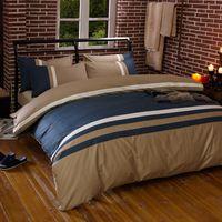 Wholesale boys full size bedding online - 100 Cotton Bule Coffee Stripe Bedding set King Queen Twin Size Fitsheet Kids Boys Bed Duvet cover Bedsheet Pillowcase