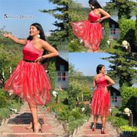 Wholesale knee high dress tulle online - 2019 Short Red Aline One Shoulder Homecoming Dress High end Customed Made Vestidos De Novia Party Gown